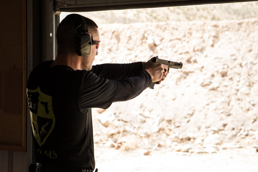 Competitor Jordan Henderson uses his KE34 Echo on Stage 3 during the Hard as Hell Heroes 2 Gun Action Match at Southern Utah Precision Shooting Range.