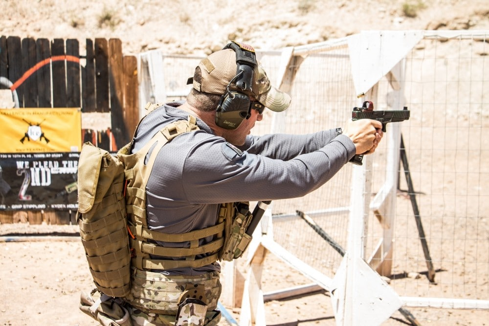 Independence Training's Josh Reeves uses a KE34 Charlie with Deltapoint Pro on the pistol portion of Stage 4 during the Hard as Hell Heroes 2 Gun Match at Southern Utah Practical Training Center.