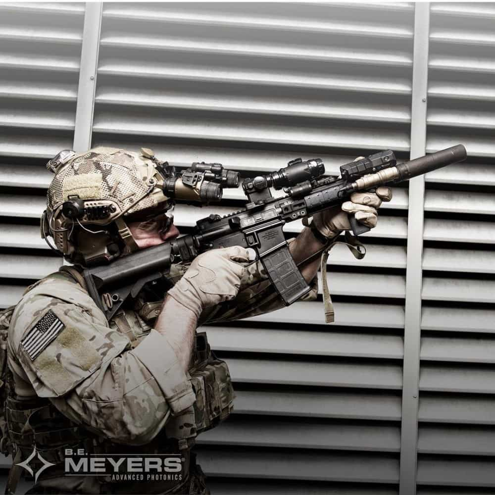 B.E. Meyers & Co. MAWL NIR/VIS green laser/individual rifle laser.