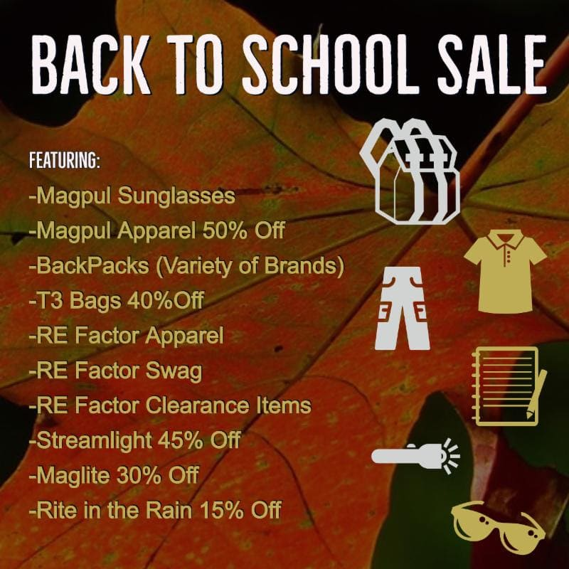 Proven Arms and Outfitters back to school sale on tactical apparel.