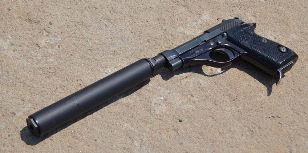 A Beretta Model 70 with Bowers Group USS 22 suppressor attached.