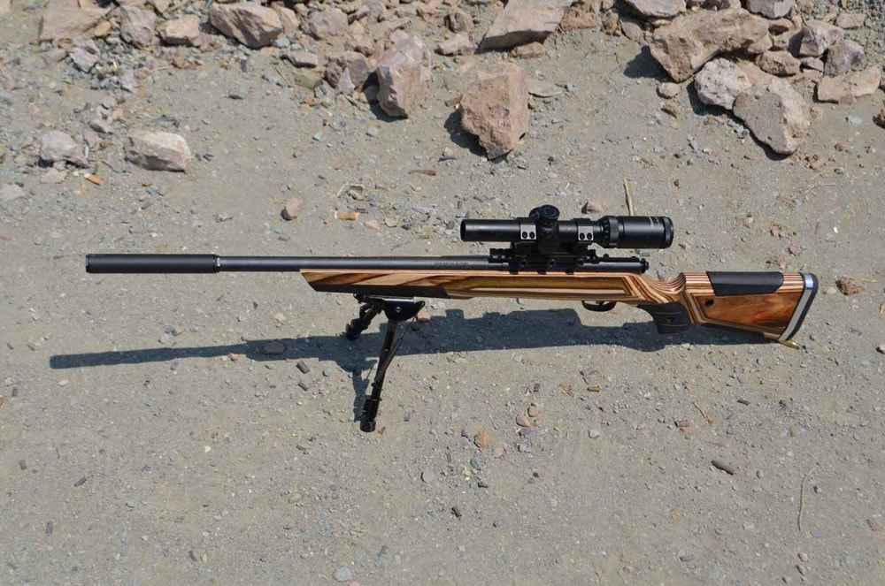 Savage 22 bolt action 93R with Bowers Group silencer attached.