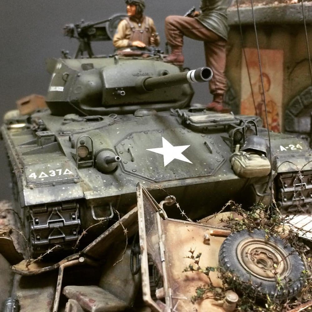 In this installment of tank week: 5 of the best scale model tank modelers around. An M24 Chaffee light tank from the 4th Armored Division.