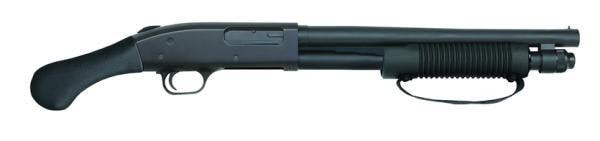 The Mossberg 590 Shockwave 6-shot, chambered in 12 gauge, uses dual extractors, twin action bars, and an anti-jam elevator.
