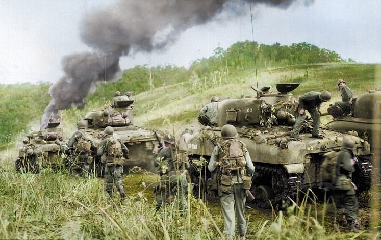 Sherman tanks supporting 162nd Infantry Regiment at Hollandia New Guinea 1944