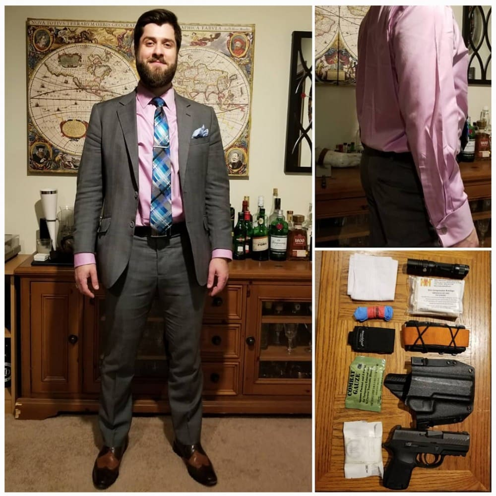 Aaron Haskins of Acuto Concepts demonstrating good concealed carry technique while dressed for a formal occasion.