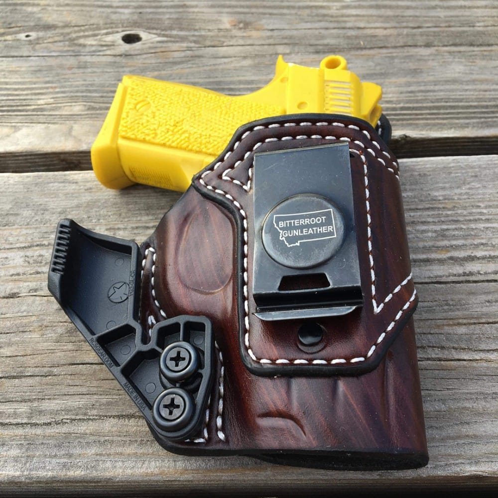 A custom AIWB Holster for CZ 2075 RAMI, for concealed carry appendix style, handmade by Bitter Root Gunleather.