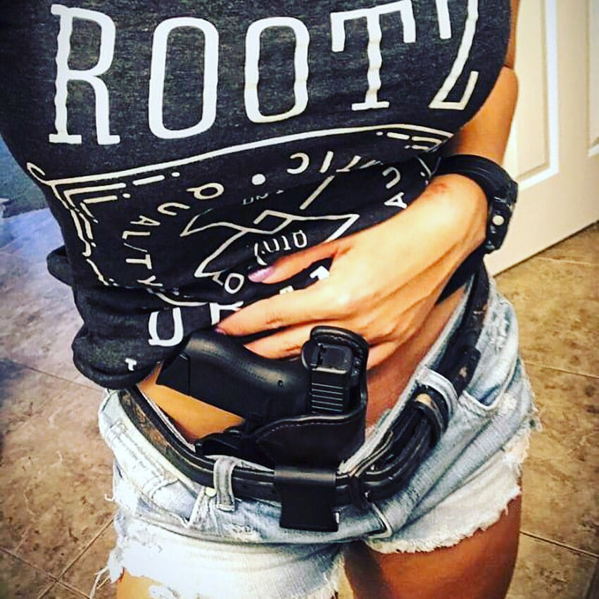 IWB Holster (Inside the Waistband) modeled by @cctactics; Concealed Carry Holsters - Gunleather Threesome article - Justincase Holsters