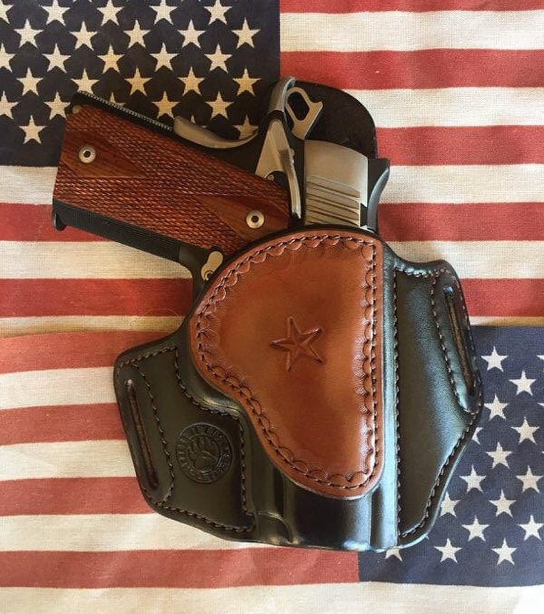 Classic CCW holster (or possibly open carry holster) for 3 in. 1911 semi-auto, by Just In Case Holsters - from the Breach-Bang-Clear Gunleather Threesome article.