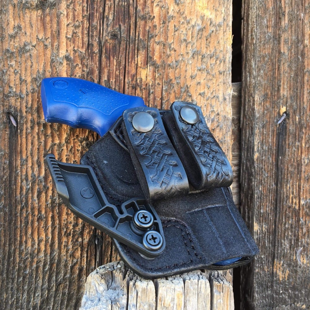 A custom AIWB Holster to carry a snub revolver appendix style concealed carry, handmade by Bitter Root Gunleather.