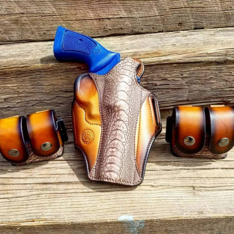 CCW holster for S&W 686 six shooter in .357 magnum - from the Breach-Bang-Clear Gunleather Threesome article - Just In Case Holsters