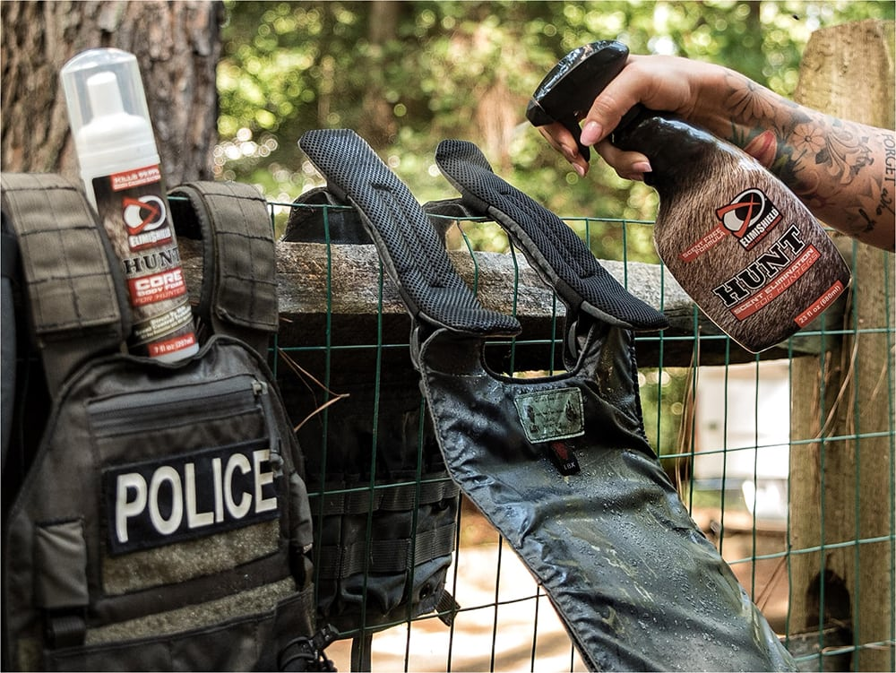 ElimiShield Hunt Scent Elimination for Hunters and Core Body Foam will get rid of the sweaty-kevlar stink.