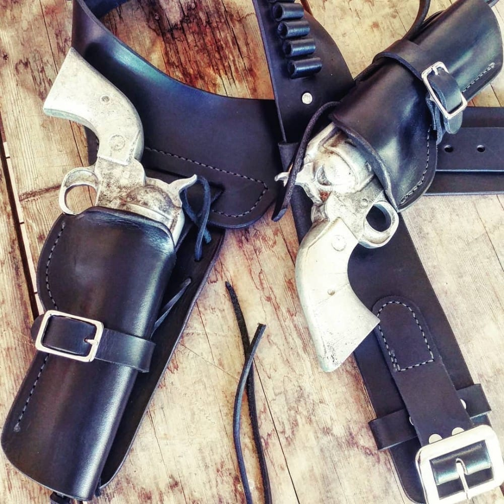 "A1 Quickdraw style custom leather revolver holster for SASS shooters or old school sixgun two-gun carry by Circle KB Holsters - from the Breach Bang Clear ""Gunleather Threesome"" article."