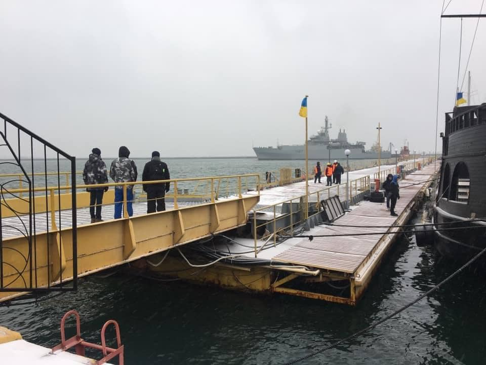 HMS Echo (H87) of Her Majesty's Royal Navy moored at the Ukrainian port of Odesa in the Black Sea 12-19-18.
