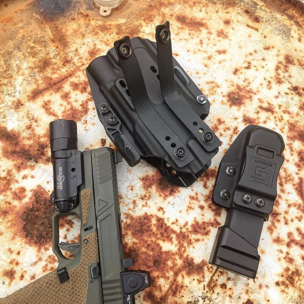 The PHLster Floodlight AIWB holster (appendix carry holster) as used by Aaron Cowan of Sage Dynamics.