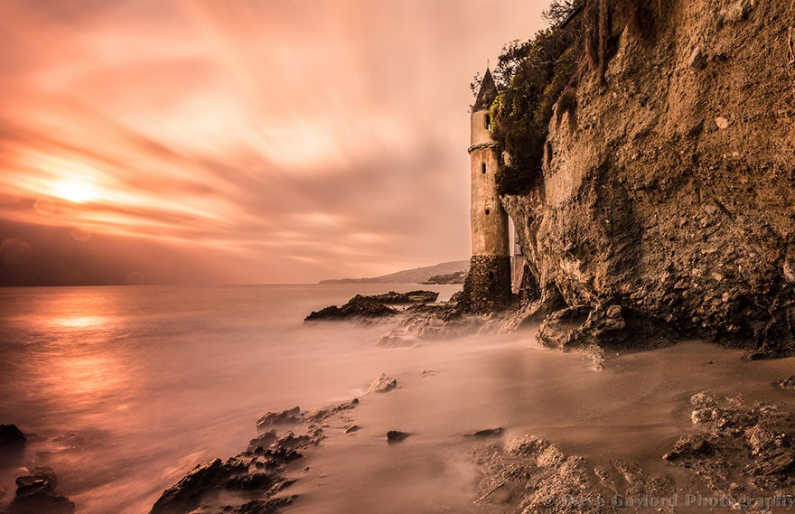 A lighthouse on Victoria Beach, California, by Dave Gaylord