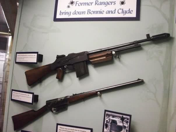 Weapons from the final gunfight with Bonnie & Clyde, from the Texas Ranger Museum.