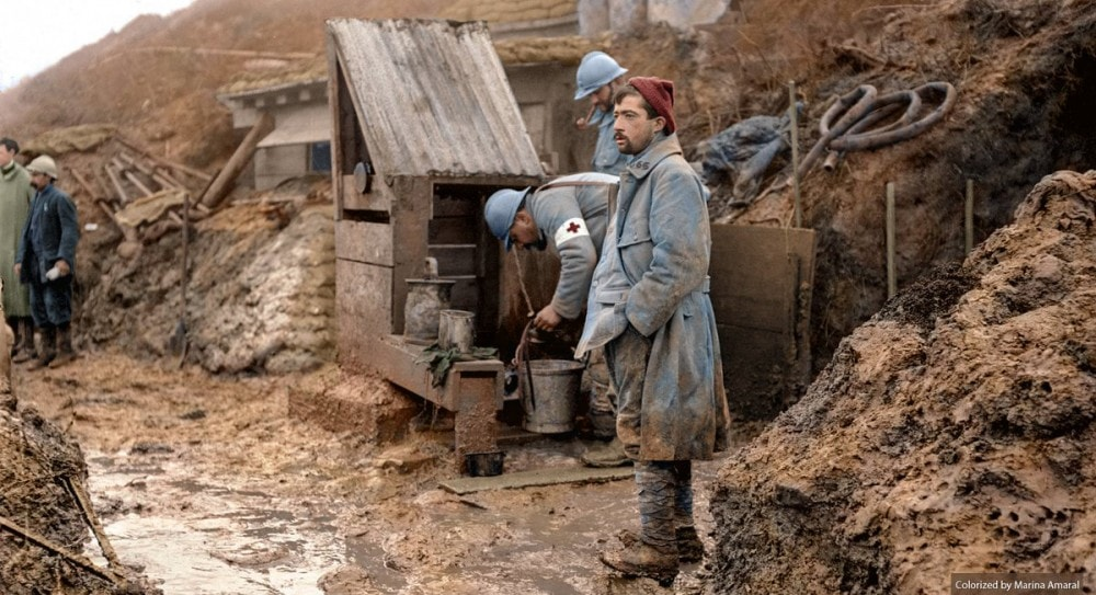 Colorized ww1 photo - French poilus in the trenches by Marina Maral