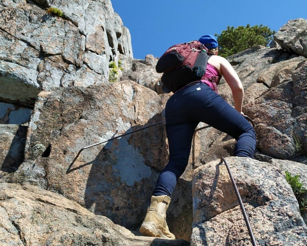 Barbell jeans move with you; like when climbing in Acadia National Park.