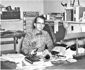 Bob Brownell at his desk. Brownells is a firearm and gunsmithing supply company.