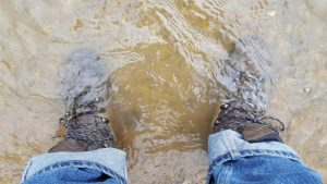 Ranger III GTX boots in water, feet stay warm and dry. Bucky Lawson gear review for Breach-Bang-Clear