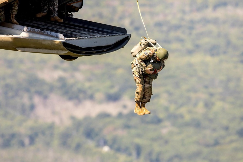 A US Army Airborne Trooper jumps during Leapfest 2019.