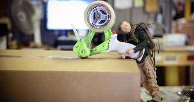 Mystery Ranch founder Dana Gleason's tiny counterpart (Mini Dana) packing up goodies for Mad Duo