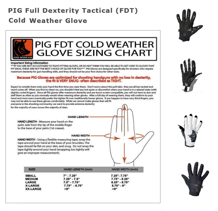 Sizing guide for FDT gloves