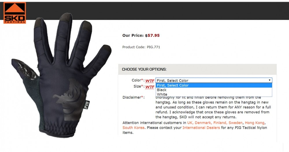 Available colors: FDT cold weather gloves from SKD Tac