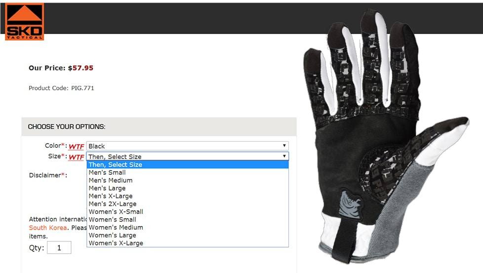 Available sizes: FDT cold weather gloves from SKD Tac