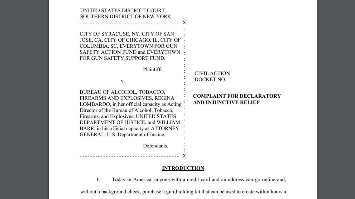 Cities suing the federal government over 80% lowers and frames