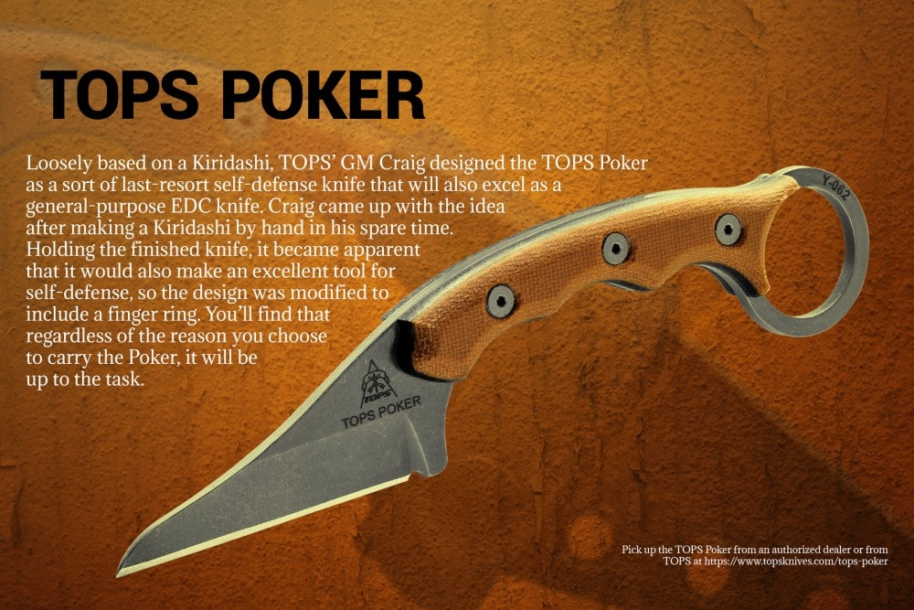 "Flyer for the TOPS Knives ""Poker""."