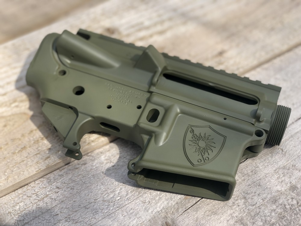 "Badmoon Armory custom lower receiver in ""Bazooka Green"" for House Morningwood."