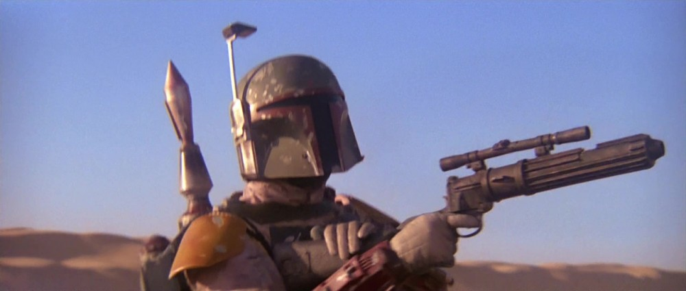 Guns of Star Wars - Boba Fett carrying his EE-3 Carbine Rifle in The Return of the Jedi.