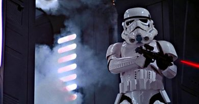 An Imperial Storm Trooper armed with a BlasTech E-11 Blaster Rifle -- in reality a British Sterling SMG.