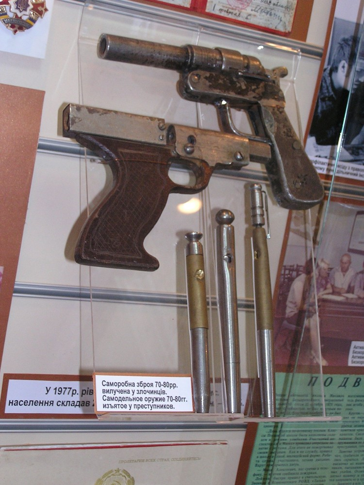 Spy Guns: Various pen guns that were similar to the Stinger. (Collection of the Museum of the History in Donetsk, Ukraine).