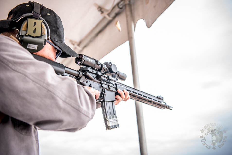Andrew Ha using the Geissele at SHOT Show 2020 Range Day.