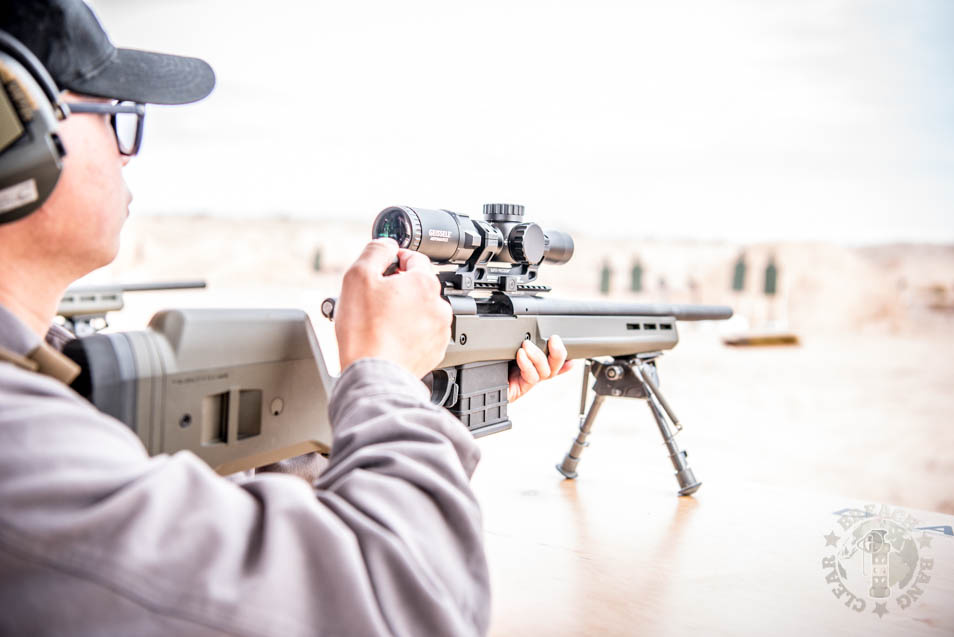 Using a Geissele 1-6 optic at SHOT Show 2020 Range Day.