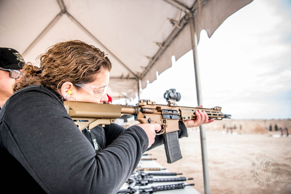 Kimmell trying out the Geissele at SHOT Show 2020 Range Day.