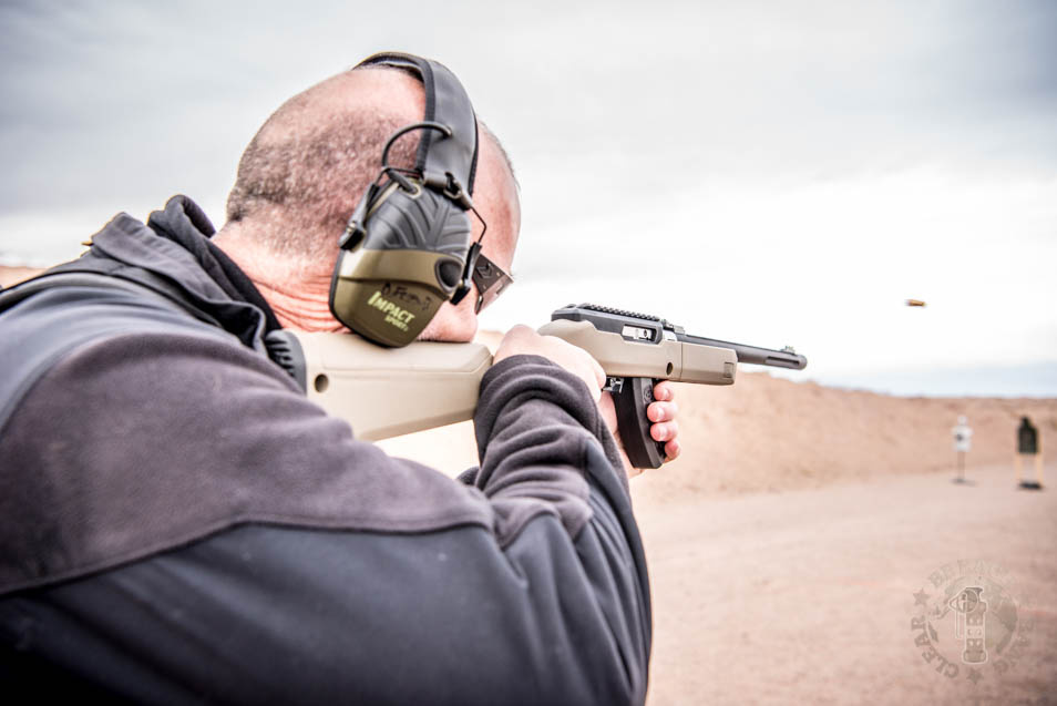 Pat DuFriend shooting a Ruger .22 cal Takedown at Range Day 2020.
