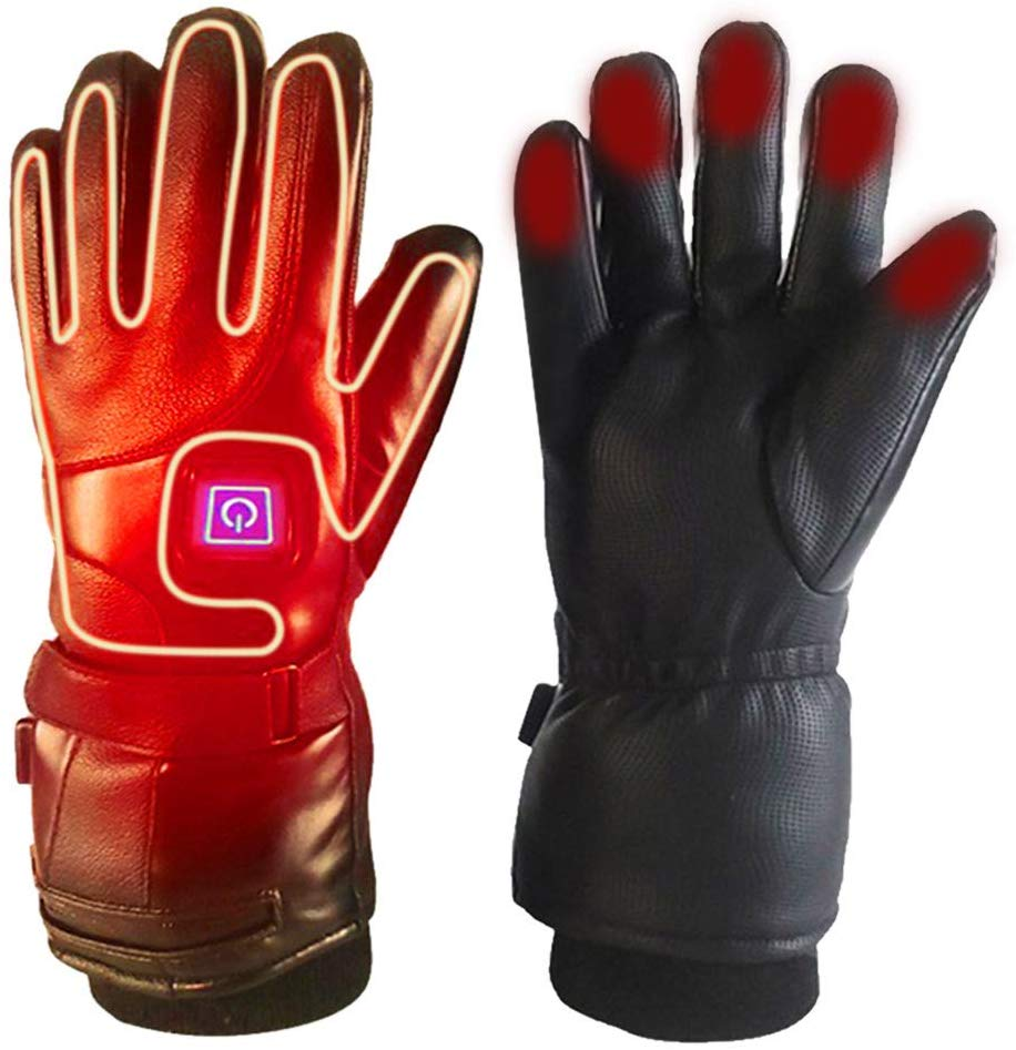 The Main Picture of the YINGBO Heated Gloves, they have a big square button where the index finger and thumb connect almost at the wrist..