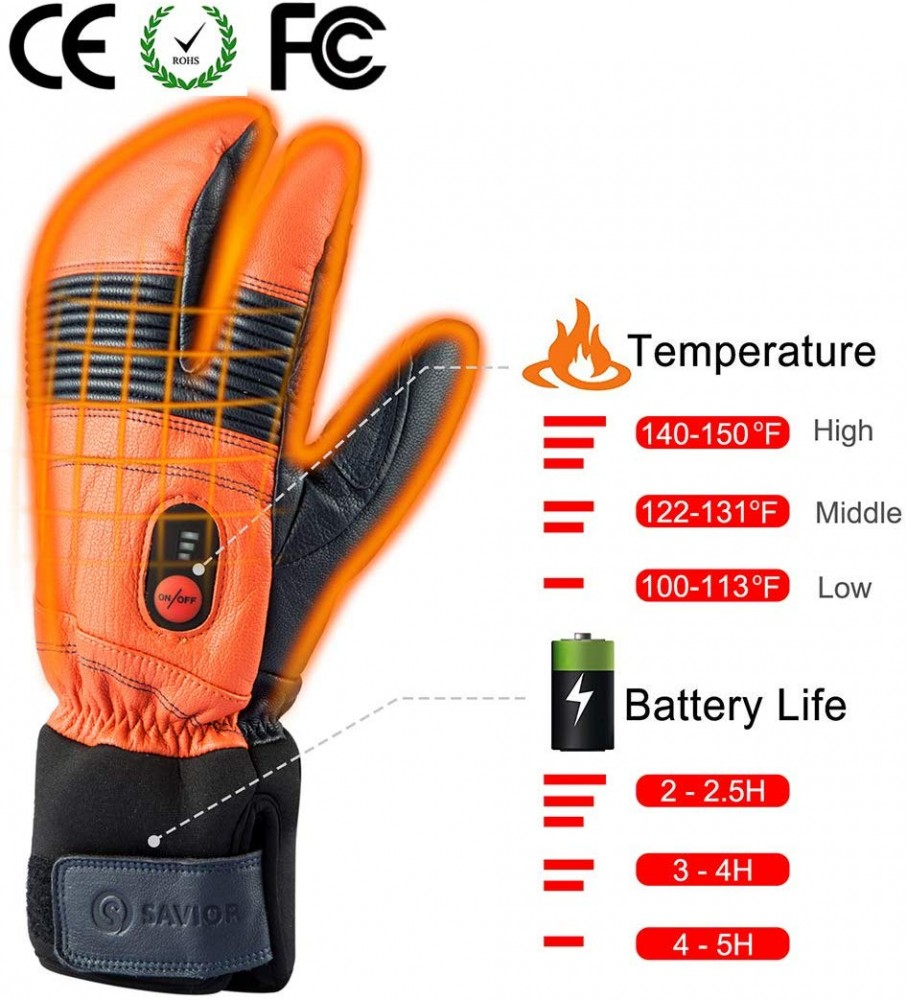 This image shows how long the gloves battery will last, and how hot the temperature rises in the gloves heat settings