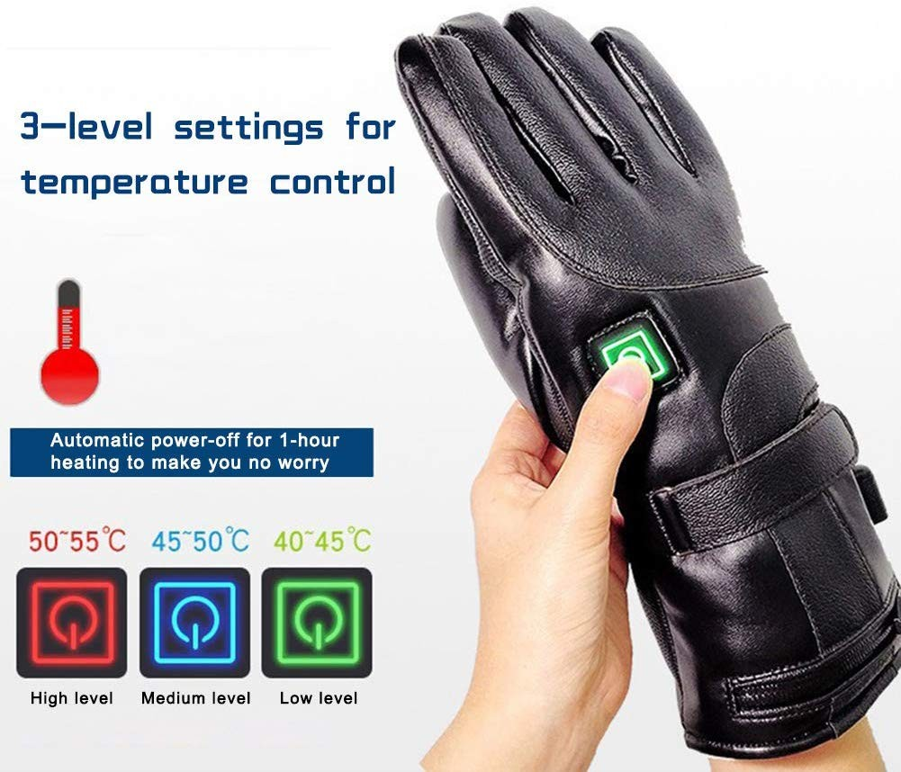 This image shows the button on the heated glove being pressed, Green for low , blue is medium, and red is high temperature