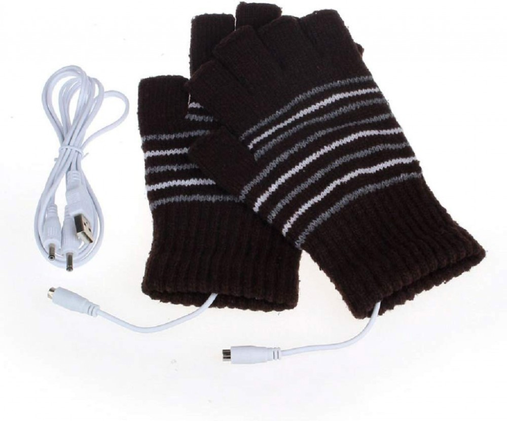 a picture showing the fashionable heated gloves by beauty van plugged in via USB, and does not use batteries