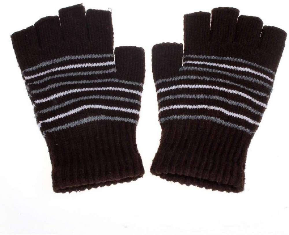 This image depicts the gloves side by side, also showing the knit fashionable gloves are fingerless and probably only for for indoors