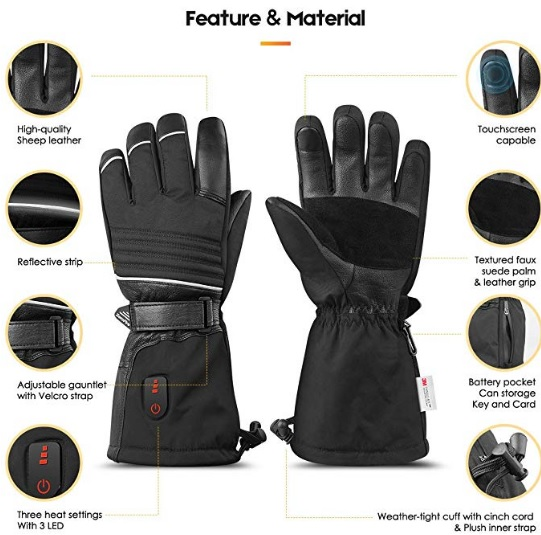 This Image shows ZEROFIRE heated gloves unedited, showing in detail what the glove is made of in smaller images on the sides of the picture.