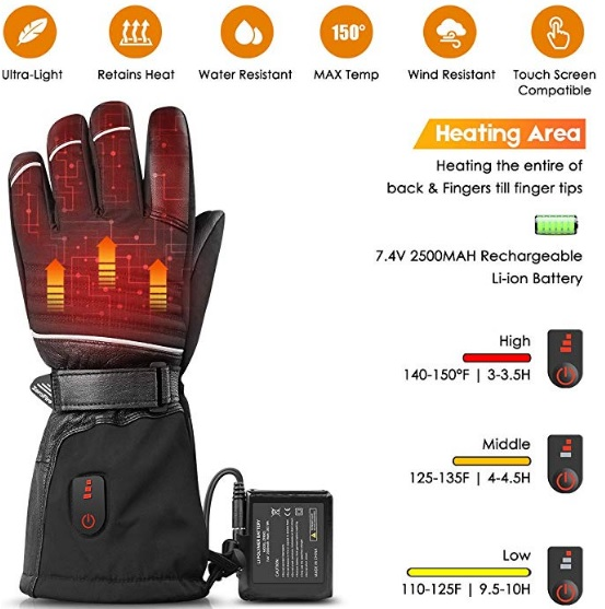 Picture Of ZEROFIRE heated gloves, detailing the gloves battery life, its breathability, and describing what the glove can do.