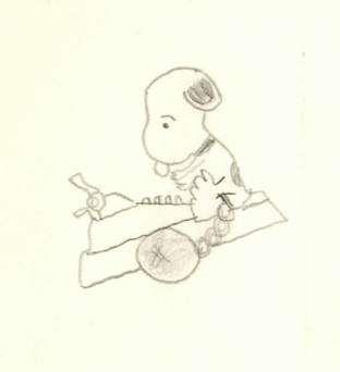 Gustav Hasford drawing of Snoopy, sketched while in jail.