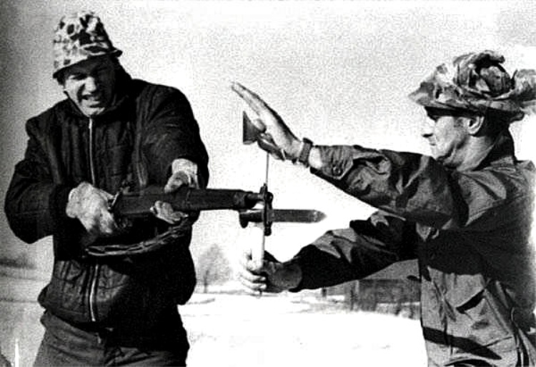 Peter LaGana Demonstrating blocking a bayonet thrust using a Vietnam Tomahawk. Photo courtesy of Bobby Branton.