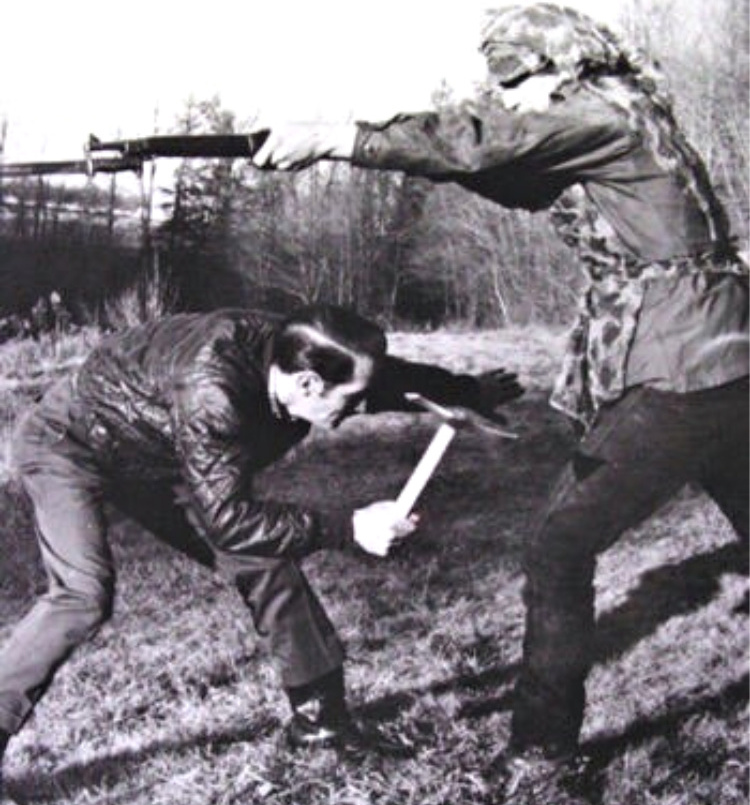 Peter LaGana demonstrating the use of a Vietnam Tomahawk vs a rifle mounted bayonet. Photo courtesy of Bobby Branton.